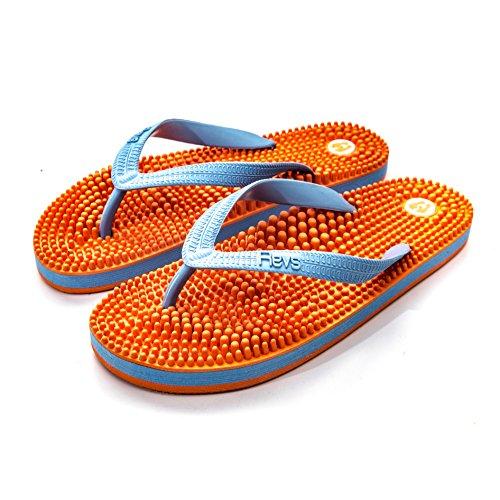 Revs, I sandali che massaggiano il piede seguendo i principi della riflessologia giapponese arancione blu