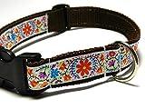Hundehalsband dunkelbraun mit - BLUMEN - Breite: 2,5 cm - Länge verstellbar von ca. 33 cm bis ca. 57 cm - Größe: L - mit Steckschließe und D-Ring - Hunde-Halsband - Geschenk Weihnachten Geburtstag
