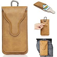 YiJee Phone Bags,Double Pockets Phone Pouch Holster PU Leather Cases with Carabiner Model Hook Loop Belt For iphone Smart Phone Protective Cases 5.7inch (Khaki)