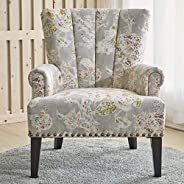 LARRY Scroll Classic Armchair [Beige] Living Room Chair - Printed Fabric, Pleated Design, Nail Detailing | Acc