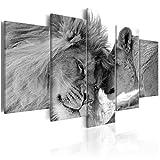 decomonkey | Wandbilder Löwe Afrika 200x100 cm 5 Teilig - Leinwandbilder | Vlies Leinwand | Wand | Bild auf Leinwand | Wandbild| Kunstdruck | Wanddeko | Bilder für Wohnzimmer Biüro Kinderzimer Küche Esszimmer Schlafzimmer Tiere Wildlife Natur schwarz weiß