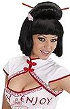 Parrucca, Modello Geisha con Fiore e Bacchette, Nero