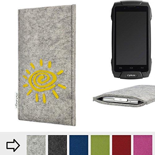 flat.design Handy Hülle für Cyrus CS 30 FARO mit Sonne Filz Schutz Tasche Etui Made in Germany fair