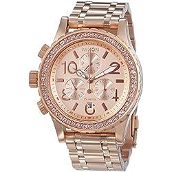 Nixon 38-20 Chrono - Reloj de cuarzo para mujer, correa de acero inoxidable color oro rosa