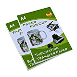 Papel de transferencia de sublimación para taza, de 8.5 x 11 pulgadas, tamaño A4, papel de transferencia de color claro para impresión de inyección de tinta, 100 hojas