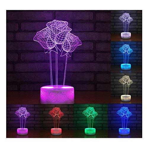 Erwa 3D Illusion Lampe Led Nachtlicht 3D Lampe 7 Farben Rose Form 3D Led Tisch Schreibtischlampe Kinder Nachttisch Lampe Dekorative Beleuchtung Geschenk Für Mädchen, Junge,Touch (Touch-lampe Rose)