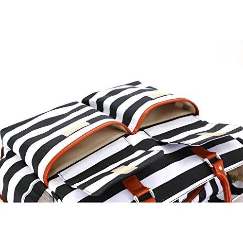 Damero Wickeltasche, Baby-Windel-Umhängetasche Windel-Tote für Mama - mit wechselnder Auflage sehr größ und praktisch, perfekt für Reise-, Arbeits- und Alltagsausflüge,Graue Streifen Schwarz Streifen