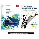 Les débutants Apprennent Lot de piano avec Abrsm Grade 1Piano pièces, My Music Practise livre–Practise Agenda et Piano crayon