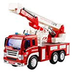 YeahiBaby Rescue Fire Ladder Truck Toy Kids Fire Engine Vehicle Model Toy with Light