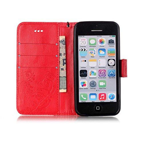 Mk Shop Limited Coque pour iPhone 5C,PU Cuir Flip Magnétique Portefeuille Etui Housse de Protection Coque Étui Case Cover avec Stand Support pour Apple iPhone 5C Multi-couleur 1