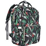 Bembika Diaper Bag Backpack For Mom Dad,Travel Rucksack Casual Daypack Maternity Nappy Bag Organizer Nursing Bottle Bag Fashion Mummy Bag For Multi-Function (Green Leaf)