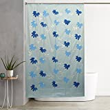 #3: Kuber Industries™ SkyBlue Floral Design PVC Premium Shower Curtain - 7 Feet -84*54 Inches- 8 Hooks (SHWC010)