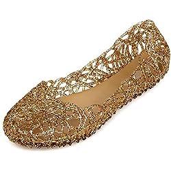 VEIIYOUNG Mujer Verano Transpirable Zapatos de Gelatina Sandalias de Jalea Bailarinas de Nido de Pájaro Sandalias de Playa Casual Zapatos de Lluvia de Plano,Oro