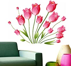 Decals Design 'Tulips Bouquet' Wall Sticker (PVC Vinyl, 50 cm x 70 cm, Multicolour)