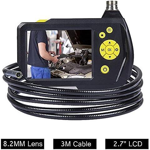 Flylinktech 8.2MM Endoscopio Manual Impermeable Digital Boroscopio de Inspección Cámara con Monitor Pantalla de 2,7 Pulgadas y Cable de 3