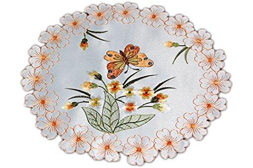 Tischdecken ALLZEIT klassisch entzückende TISCHDECKE Deckchen Rund 40 cm Sekt Schmetterlinge Blüte Orange Gestickt Untersetzer Zierdecke Frühling Sommer