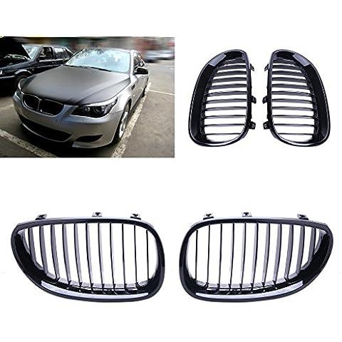 SENGEAR - Parrilla Rejillas Frontal (Color Negro Brillante) para BMW E60 E61 M5 5 Series 2003-2010