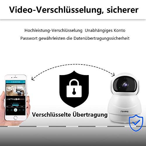 Wlan Wifi IP Kamera Weitwinkel, NIYPS 1080P Full HD kleine Überwachungskamera mit Bewegungserkennung und Infrarot Nachtsicht, 2 Wege Audio, Innen Sicherheitskamera für Haustier Babyphone und Nanny Cam