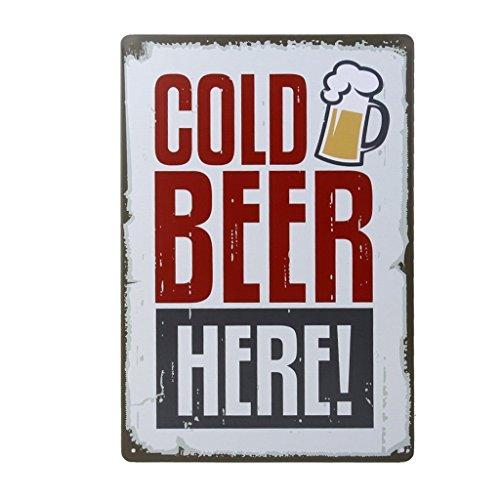 NiceButy Poster Metallic Malerei Deko Vintage für Bar Café Pub 20 cm x 30 cm Cold Beer HERE!