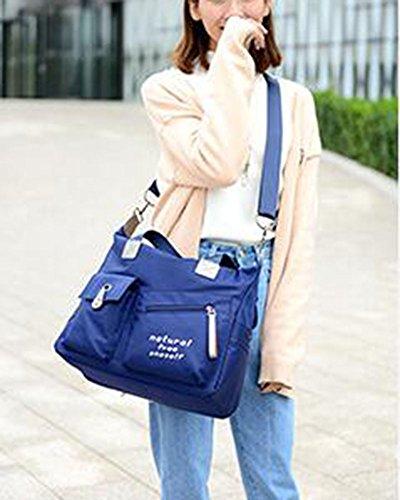 Donna Casual Borsa A Tracolla In Nylon Messenger Bag Blu Blu