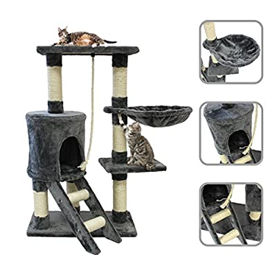 Cat tree (Gray) with 90 cm natural sisal scratching post and accessories (Hammock, rope, and house)