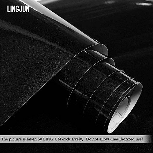 Autocollants Stickers Meubles en PVC pour Couverture de Cuisine Placard Porte Tiroir Garde-robe 5m x 61cm Imperméable Décoration Murale (Noir)