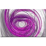 Lynxart cuadro de–corazón–nuevo rosa negro gris pared arte Large sala diseño pintura estirada y enmarcado listo para colgar. Giclée de abstracto arte abstracto 1pieza decoración para el hogar oficina vida cocina, 80 x 50 cm