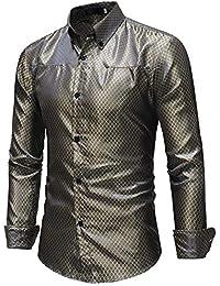 1ca16b32567924 Camicia da uomo Men's Rhomboids Stampa Fit bavero collo manica lunga Button  Down Gentleman camicia per