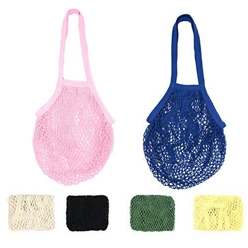 RETON 6 Stücke Netztasche Organic Cotton String Einkaufstasche Net Woven Wiederverwendbare Tasche - Weiß + Schwarz + 4 Mehrfarbig (Lange Größe) -