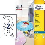 AVERY Zweckform C6074-20 CD-Etiketten (A4, 40 Etiketten, hochglänzend, Ø 117 mm, 20 Blatt) weiß
