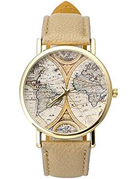 JSDDE Uhren,VINTAGE Weltkarte Uhr Lederausstattung Leichtmetall Damen Analoge Quarz Armbanduhr,Beige