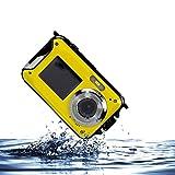 Appareil photo étanche, Stoga CGT001 Double écrans étanches caméra vidéo numérique de 2,7 pouces avant LCD 2,7 pouces caméra facile Self Shot-Jaune