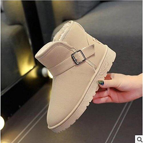 Hsxz Chaussures Pour Femmes Cuir Nappa Automne Hiver Confort Bottes À Bout Plat Bottines / Bottines Casual Wear Kaki Noir Gris Noir