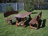 Timberline Sitzgruppe Wildlife XL 200 cm rustikal Outdoor Gartenmöbel, Farbe:dunkel geölt;Material:Eiche