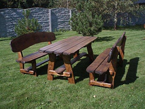 Timberline Sitzgruppe Wildlife XL 200 cm rustikal Outdoor Gartenmöbel, Farbe:dunkel geölt;Material:Eiche - Rustikale Sitzgruppen