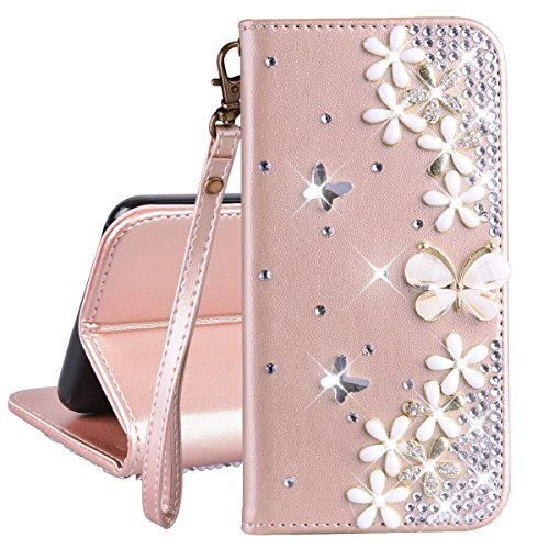 Brieftasche PU Ledertasche Hülle für Galaxy S5 Handschlaufe Schutzhülle Rose Gold Drücken Schmetterling Flip Case Strass 3D Bling Bling Entwurf Blumen Blumen und Schmetterling Muster Lederhülle