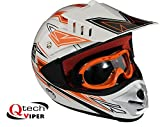Kinder Motocross-Helm mit Brille - für Offroad/ATV/Dirt Bike - Orange - XL (53-54 cm)