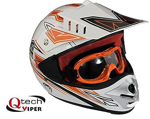 Casque et lunettes protectrices de moto-cross - enfant - Orange - M (49-50 cm)
