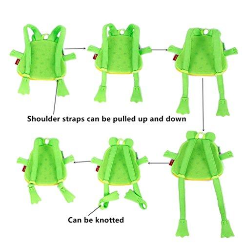 Yisibo Kinder Rucksack Kindergarten Umwelt Rucksäcke 3D Cartoon Niedlich Tier Schule Taschen Zoo Wandern Reisen Camping Kleinkind Sidekick Pack (Katze-Grau) Frosch-Grün
