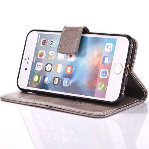 Uklayfe Book Style Design Portafoglio Custodia in pelle Cuoio Custodia Protettiva Portafoglio Flip Case Cover per iphone 6 Plus/6S Plus (5.5 pollice) con funzione di supporto e chiusura magnetica Con  Grigio(con Fiore Campanula)
