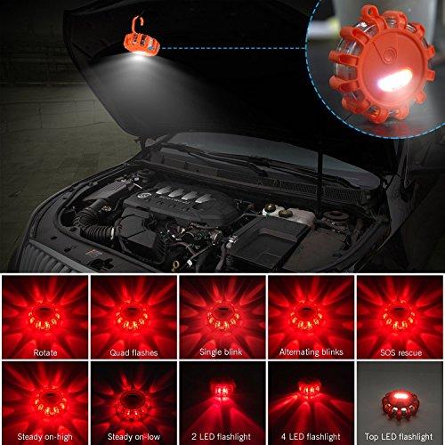 Yandu LED Emergencia Luz, Llamarada Carretera, Intermitente Advertencia Luz para Coche, Camión o Barco, con Enganche y Base Magnética (6-Pack)