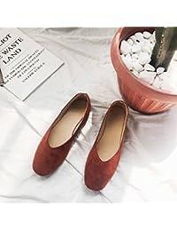 Retro Simple Joker Casual Pure Color Scrub Square Zapatos Planos Grandma Shoes Zapatos de Mujer Redondo