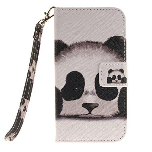 CareyNoce iPhone SE/5S/5 Coque,Papillon Fleur Datura Fleur Panda Retro Painted Embossed Pattern Conception Flip Housse Etui Cuir PU Coque pour Apple iPhone SE iPhone 5S iPhone 5 (4.0 pouces) -- Panda T09
