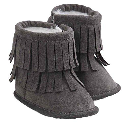 Hunpta Neue Baby jungen Mädchen Baby Schneestiefel halten Warm Doppelstock-Quasten weiche Sohle weiche Krippe Schuhe Kleinkind Stiefel (11, Dark Gray) Gray