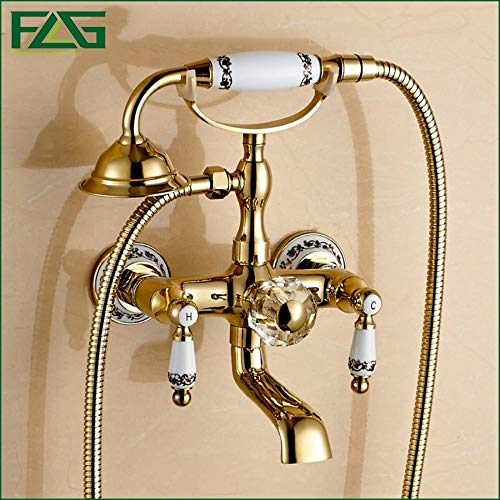 FLG Free Shipping Bathroom Bath Wall Mounted Ceramic handle Held Gold Plated Brass Shower Head Kit Shower Bath Faucet Sets HS032 -