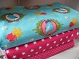 Qjutie Lottashaus No120 Jersey Stoffpaket 3 Stück 50x70cm Vogel Blau Pink Tupfen Sterne Baumwolljersey Kinder Kleidung Stoffe