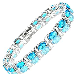 Rizilia Jewellery Oval Shaped Aquamarine Color Birthstone Gemstone Fine 18K White gold Plated [180mm/7inch] Tennis Bracelet Simple Modern Elegance [Free Jewelry Pouch]