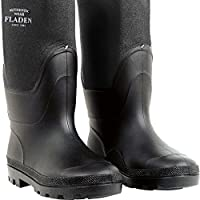 FLADEN Fishing Authentic Wear Quality Fully Waterproof Pair of NEOPRENE and PVC Wellington Boots - Classical Style Black Quality Rubber Soles and Seams - Ideal for Fishing, Hunting & Similar Outdoor Pursuits