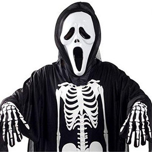 Halloween Kostüm Skeleton Handschuhe Kostüm Unisex Scary für Erwachsene Frauen Männer Jungen Mädchen Cosplay Schädel Ghost Perfekt für Party Urlaub Gelegenheit (Kind freie Größe) (Scary Skeleton Kind Mädchen Kostüme)