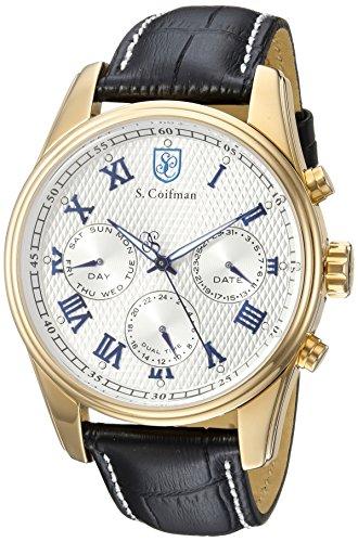 S. Coifman Men's 'Heritage' Quartz Gold-Tone and Leather Casual Watch, Color:Black (Model: SC0398)